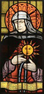 Heilige Jutta; Fensterbild in der Herz-Jesu-Kirche in Sangerhausen
